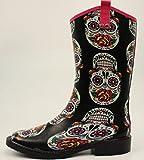 Blazin Roxx Women's Gwen Sugar Skull Rain Boots, Multi Rubber, 6 M