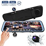 CHICOM 9.66 inch Mirror Dash Cam Touch Full Screen ; 1080P 170° Full HD Front Camera;1080P 140°Wide Angle Full HD Rear View Camera;Time-Lapse Photography (350 Degree Rotation Camera)