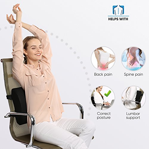 Everlasting Comfort 100 Pure Memory Foam Back Cushion Orthopedic Design For Lower Back Pain Relief Lumbar Support Pillow 2 Adjustable Straps For