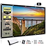Portable Projector Screen 100 inch, 16:9 Foldable Anti-Crease HD 3D Indoor and Outdoor Projector Movies Screen, Support Double Sided Projection