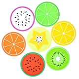 Set of 7 Colorful Fruit Slices Silicone Coasters for Drinks and Coffee, 3.5' Non-slip Unique Cup Mat Drink Placemat - Great Gift Idea