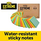 Post-it Extreme Notes, Stop Re-work on the Job, Removes cleanly, 100X the holding power, Green, Orange, Mint, Yellow, 3 in x 3 in, 24 Pads/Pack, 45 Sheets/Pad