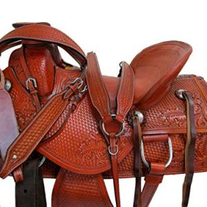 15 16 17 Wade Roper Roping Floral Tooled Brown Leather Pleasure Trail Western Horse Saddle