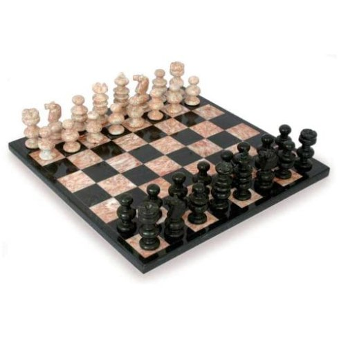 NOVICA Handcarved Marble Stone Chess Set