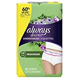 Always Discreet Incontinence & Postpartum Underwear for Women, Small/Medium, 32 Count, Maximum Protection, Disposable (32 Count)