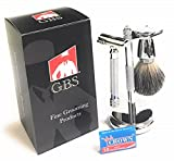GBS Wet Shave Grooming Set - Double Edge Safety Razor Stainless Steel Textured Handle DE Shaving Razor + Badger Hair Stainless Shaving Brush + Brush & Razor Stand Includes Replacement Blades