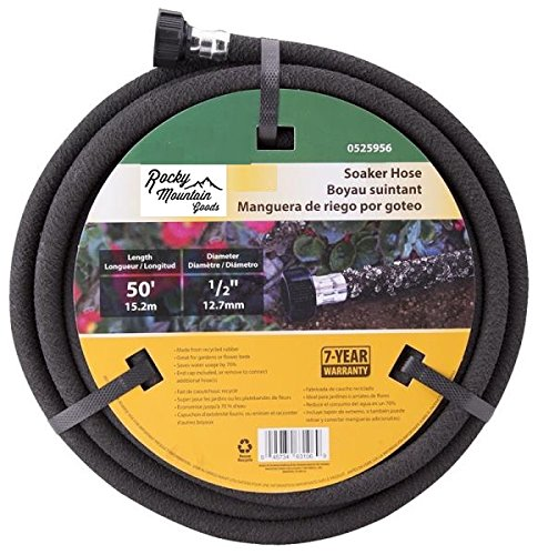 Rocky Mountain Goods Soaker Hose - Heavy Duty Rubber - Saves 70% Water - End Cap Included for Additional Hose Connect - Great for Gardens/Flower beds - Reinforced Fittings (50-Feet by 1/2-Inch)