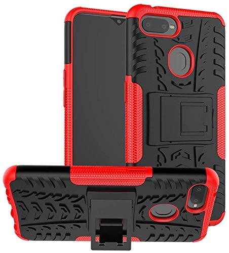 Cassby Shockproof Hybrid Kickstand Back Case Defender Cover for Oppo F9 Pro - Red 1