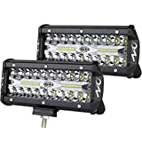 7inch LED Light Bar 2pcs 240W Offroad Driving Lights LED Pods Spot Flood Combo Beam Fog lights Waterproof Led Work Lights for UTV ATV Jeep Truck Boat