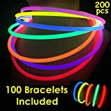 "100 Glow Sticks Bulk Wholesale Necklaces, 22"" Glow Stick Necklaces+100 Free Glow Bracelets! Bright Colors Glow 8-12 Hr, Connector Pre-Attached(Handy), Superior Glow Necklaces, GlowWithUs Brand"