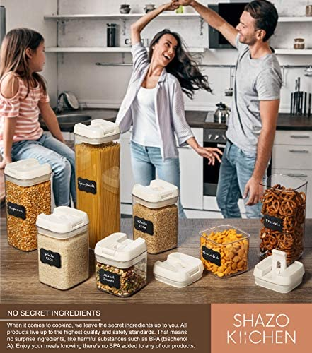 Shazo Airtight Container Set for Food Storage - 7 Piece Set + Heavy Duty Plastic - BPA Free - Airtight Storage Clear Plastic w/White Interchangeable Lids kitchen counter storage Bin -18 Labels+Marker
