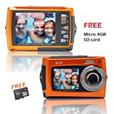 SVP Aqua 5800 Orange (with Micro 4GB) 18 MP Dual Screen Waterproof Digital Camera