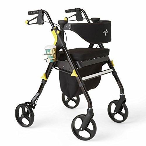 Medline Premium Empower Rollator Walker with Seat, Folding Rolling Walker with 8-inch Wheels, Black