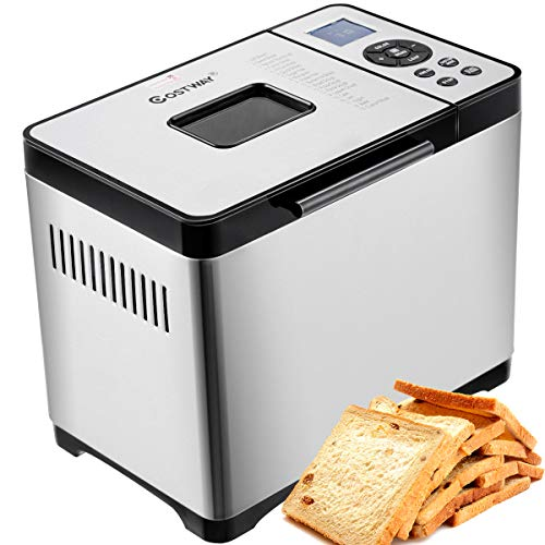 COSTWAY Bread Maker Stainless Steel Automatic Programmable Multifunctional Bread Machine with 19 Programs, 3 Loaf Sizes, 3 Crust Colors, 15 Hours Delay Timer, 1 Hour Keep Warm (19 Programs 650W)