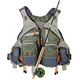 Kylebooker Fly Fishing Vest Multifunction Breathable Backpack Adjustable Size for Men and Women-Army Green