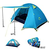 Topnaca 2 3 Person 3 Season Backpacking Tents for Camping, Ultralight Waterproof Vestibule Awning Two Doors Double Layer with Aluminum Rods for Hiking Beach Outdoor Family Adventure (Azure, 3 Person)