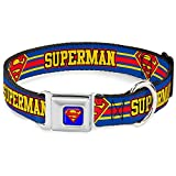 "Buckle-Down Seatbelt Buckle Dog Collar - SUPERMAN/Shield Stripe Blue/Yellow/Red - 1"" Wide - Fits 15-26"" Neck - Large"