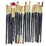 KOLIGHT Set of 20pcs Pro Makeup Sets Powder Foundation Eyeshadow Eyeliner Lip Cosmetic Brushes-black+gold