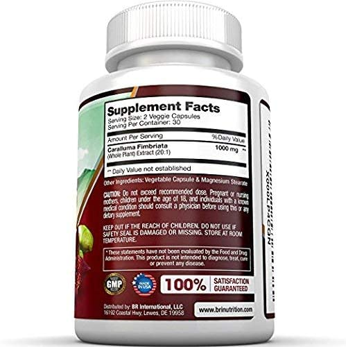 BRI Nutrition Caralluma Fimbriata - Natural Appetite Suppressant & Weight Loss Diet Pills - 1000mg, 30-Day, 60 Count Vegetable Cellulose Capsules 3