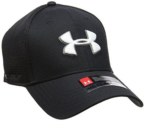 Under Armour Men's Golf Mesh Stretch 2.0 Hat, Black (001)/White, Medium/Large