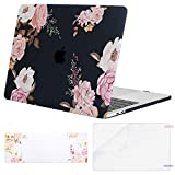 MOSISO MacBook Pro 15 Case 2018 2017 2016 Release A1990/A1707 Touch Bar, Plastic Pattern Hard Shell & Keyboard Cover & Screen Protector Compatible Newest Mac Pro 15 Inch, Peony Blossom