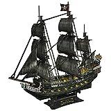 CubicFun 3D Large LED Pirate Ship Puzzle Sailboat Model Building Kits Toys, Queen Anne's Revenge, 340 Pieces