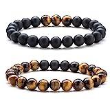 Hamoery Men Women 8mm Couple Beads Bracelet Elastic Natural Stone Yoga Bracelet Bangle (Set1)