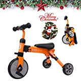 2 in 1 Kids Glide Tricycles Toddler Tricycle Baby Balance Bike Trike for 2 Years Old and Up Boys Girls Gift Kids Bike Trike Kids Tricycle 2-4 Years Old Toddler Bike Trike Kids Balance Bike (Orange)