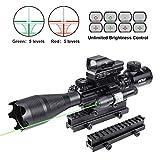 Pinty Rifle Scope 4-16X50 Illuminated Optics Sight Green Laser, Reflex Holographic Dot Sight, Riser Mount 14 Slots 1 inch High Riser Mount