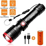 Wsky Rechargeable Flashlight, Best S3000 LED Tactical Flashlight, (7500mAh 26650 Rechargeable Battery included) Multi-modes, Zoomable, Water Resistant, Perfect For Biking Hiking Emergency Outdoor Gift