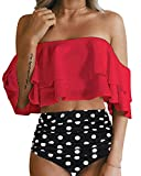 Tempt Me Women Two Piece Off Shoulder Ruffled Flounce Crop Bikini Top with Print Cut Out Bottoms Red M