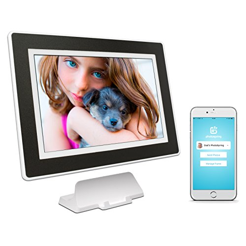 PhotoSpring (64GB) 10-inch WiFi Cloud Digital Picture Frame - Battery, Touch-Screen, Plays Video and Photo Slideshows, HD IPS Display, iPhone & Android app (White/Black Mat - 65,000 Photos)