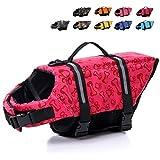 HAOCOO Dog Life Jacket Vest Saver Safety Swimsuit Preserver with Reflective Stripes/Adjustable Belt Dogs?Pink Bone,XL