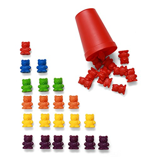 72 Rainbow Colored Counting Bears with Cups for Children, Toddlers, Excellent Educational Tool for STEM Education, Mathematics, Counting, Sorting, by California Basics