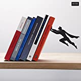 ARTORI Design | Book & Hero | Black Metal Superhero Book ends | Unique Bookends, Gifts for Geeks, Gifts for Book Lovers, Cool Book Stopper,, Gift for Dad.