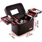 Sooyee-Multifunction-Travel-Cosmetic-Bag-with-Mirror-4-Layer-Drawers-Foldable-Tray-Open-to-The-SidesBlack-Portable-Train-Makeup-Organizer-Case-Earrings-and-Necklace-Storage-Display-Box