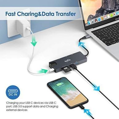 USB-C-Hub-9-in-1-USB-C-Adapter-with-4K-USB-C-to-HDMIVGA-USB-C-Charging-2-USB-30-SDTF-Card-Reader-USB-C-to-35mm-Gigabit-Ethernet-USB-C-Dock-Compatible-Apple-MacBook-Pro-1315-Thunderbolt-3