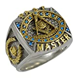 UNIQABLE Masonic Past Master Ring 18K Gold Plated Unique Design Freemasonry Man Handmade KTR-13 (11.5)