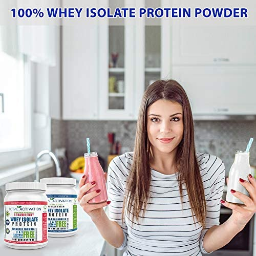 Lactose Free 100% Whey Isolate Low Carb Protein Powder Under 1 Gram Sugar Strawberry Protein Powder for Women Weight Loss & Men Post Workout Recovery Drink Meal Replacement Shakes Keto Protein Powder 8