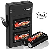 Ponkor Xbox One Controller Battery 2500mAh, High-Speed Charging Technology Rechargeable Battery Pack Xbox One/Xbox One S/Xbox One X/Xbox One Elite Wireless Controller, 3 Pack Battery 1 Charger