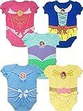 Disney Princess Baby Girls' 5 Pack Bodysuits Belle Cinderella Snow White Aurora, 3-6 Months