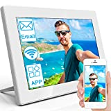 MRQ 10.1 Inch Full HD WiFi Digital Photo Frame with Touch Screen, Support Email, Cellphone App (iOS and Android), 16GB Internal Storage Included Support USB Flash Drive and SD Card