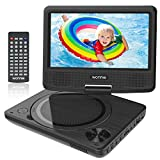 WONNIE 9.5' Kids Portable DVD Player with 7.5 inch Swivel Screen, Rechargeable Battery, Remote Control, Personal DVD Player for Car, Support USB / SD Card Reader( Black)