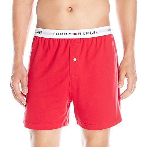 Tommy Hilfiger Men's Underwear Knit Boxers, Mahogany, Small