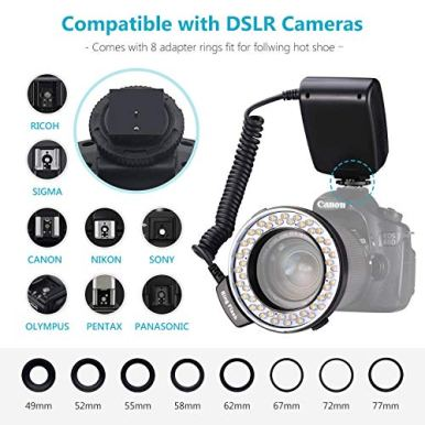 Neewer-48-Macro-LED-Ring-Flash-Bundle-with-LCD-Display-Power-Control-Adapter-Rings-and-Flash-Diffusers-for-Canon-650D600D550D70D60D5D-Nikon-D5000D3000D5100D3100D7000D7100D800D800ED60