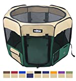"EliteField 2-Door Soft Pet Playpen, Exercise Pen, Multiple Sizes and Colors Available for Dogs, Cats and Other Pets (52"" x 52"" x 32""H, Beige+Green)"