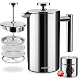 French Press Double-Wall Stainless Steel Mirror Finish (34oz) 20% Heavier Duty Coffee/Tea Maker: Multi-Screen System 100% No Coffee Grounds Guarantee, 18/10 Stainless Steel, Rust-Free, Dishwasher Safe
