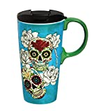 Cypress Home Day of the Dead 17 oz Boxed Ceramic Perfect Travel Coffee Mug or Tea Cup with Lid - 3'W x 5.25'D x 7'H
