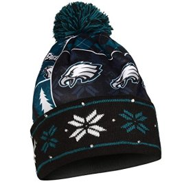 NFL Philadelphia Eagles Busy Block Printed Light Up Beanie, One Size, Green