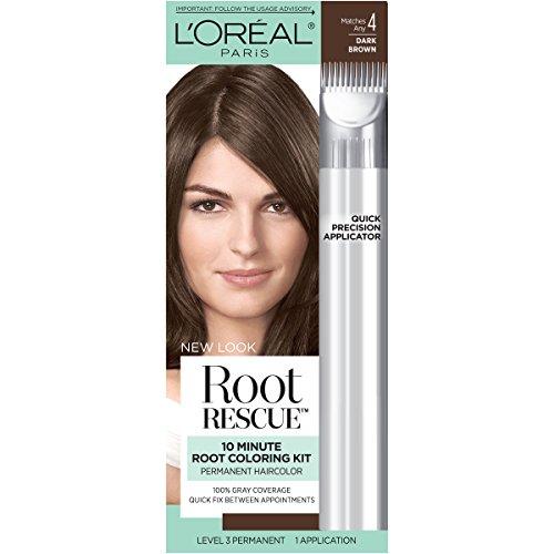 L'Oreal Paris Root Rescue 10 Minute Root Coloring Kit, 4 Dark Brown